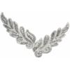 Motif Sequin/beads 26x8cm Leaf Shape Silver Holorgram